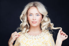 Perfect Woman with Blonde Curly Hair Stock Photos