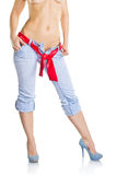 Perfect woman body in jeans Royalty Free Stock Image