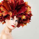 Perfect Woman with Fall Leaves Wreath Royalty Free Stock Photography