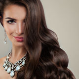Perfect Woman Fashion Model with Diamond Earrings Stock Photos
