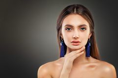 Perfect Woman Fashion Model with Shiny Makeup Royalty Free Stock Photo