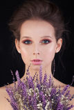 Perfect Woman with Flowers Stock Images