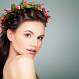 Perfect Woman with Healthy Skin and Flowers. Aesthet Stock Photo