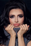 Perfect Woman in Knitted Sweater. Beauty Brunette Girl Fashion M Stock Image