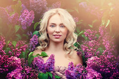 Perfect Woman Model with Blonde Flowers Royalty Free Stock Image