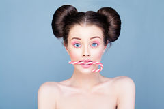 Perfect Woman Model with Healthy Skin and Sweets Stock Photos
