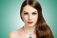 Perfect woman. Portrait of beautiful young elegant woman girl lady actress Greek Aphrodite goddess bride model wealth luxury. Perfect nude makeup beautiful face Stock Photo
