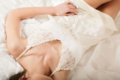 Perfect woman's body in white sexy nightwear Royalty Free Stock Photos