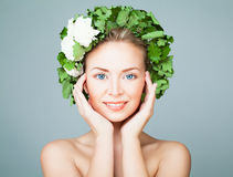 Perfect Woman Wearing Green Leaves Wreath Stock Image