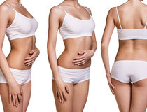 Perfect women body in white underwear Royalty Free Stock Images
