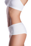 Perfect women body in white underwear Stock Photography
