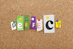 Perfect Word. Letters pinned cork bulletin board Stock Image