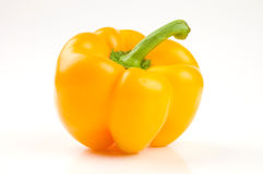 Perfect yellow bell pepper. Isolated on white royalty free stock images