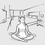 Perfect Yoga Pose at floor indoors Royalty Free Stock Image