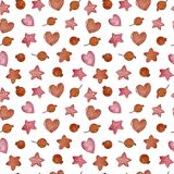 Watercolor winter seamless pattern. Pattern with winter berries, hearts, stars. Perfect for you postcard design,invitations,projects,wedding card,poster Royalty Free Stock Image