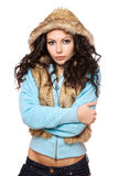 Perfect young brunette in the hood. Isolated Royalty Free Stock Photo