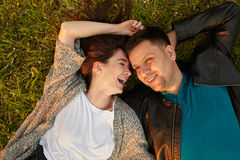 Perfect young couple fine portrait from above. Royalty Free Stock Image