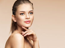 Perfect young girl with natural make-up. royalty free stock image