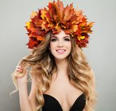 Perfect Young Woman with Autumn Leaves Royalty Free Stock Image
