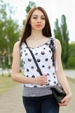 Perfect young woman outdoors Royalty Free Stock Image