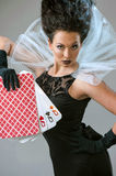 Perfect young woman with playing cards Stock Photo
