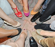 Perfecte cirkel van benen van vrouw en mannen Stock Foto's