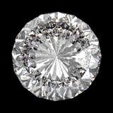 Perfecte die diamant op zwarte wordt geïsoleerd Stock Fotografie