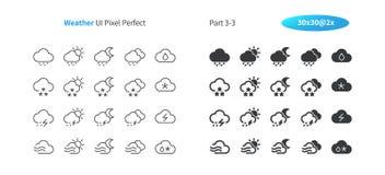 Perfecte goed-Bewerkte Vector Dunne Lijn en Stevige Pictogrammen 30 van het weerui Pixel 2x Net voor Webgrafiek en Apps eenvoudig stock illustratie