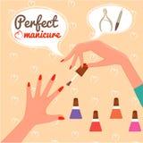 Perfecte Manicure Het concept van de schoonheid illustratie met rode boog Glamur Disig Royalty-vrije Stock Foto