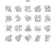 Perfecte Vector Dunne de Lijnpictogrammen 30 van het reisverzekering goed-Bewerkte Pixel 2x Net voor Webgrafiek en Apps vector illustratie