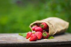 Perfecte zoete rijpe aardbeien op houten achtergrond Stock Foto's