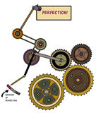 Perfection. A system of gears, cogs, pulleys working to create perfection. A metaphor vector illustration