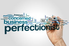 Perfectionist word cloud. Concept on grey background royalty free stock photo
