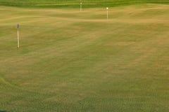 Perfectionnez la terre onduleuse avec l'herbe verte sur un champ de golf Images libres de droits
