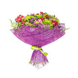 Perfectly bouquet of orchids and chrysanthemums Stock Photos