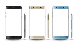 Perfectly detailed new smartphones galaxy note 7 style. Isolation with digital pen. Vector illustration stock illustration