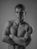 Perfectly fit shirtless young man Stock Images