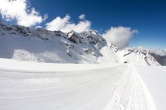 Perfectly groomed empty ski piste Stock Image