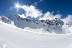 Perfectly groomed ski piste Stock Image