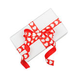 Perfectly packed gift with bow from ribbon hearts Stock Image