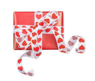 Perfectly packed gift with bow from ribbon hearts Stock Images