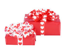 Perfectly packed two gifts with bow from ribbon hearts Royalty Free Stock Images