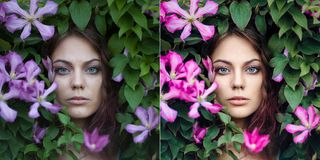 Perfectly retouched - before and after girl portrait. royalty free stock photos