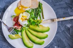 Perfectly toasted avocado toast with a delicious poached egg filling royalty free stock photo