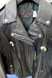 Perfecto Schott leather jackets displayed for sale. At american style fair Turin Italy March 23 2018 stock photography