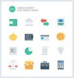 Perfekt finans för PIXEL och plana symboler för pengar Royaltyfri Foto