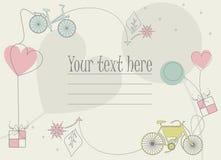 Perfekt hälsningkort med cykelshillouettes, ballonger, hjärtor Royaltyfria Bilder