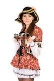 Perfekt kvinna med klädde vapen som piratkopierar Fotografering för Bildbyråer