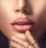 Perfekt kvinnas sinnliga kanter med beige matte läppstift Arkivfoton
