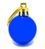 Perfekt retro blå isolerad julboll Arkivfoto